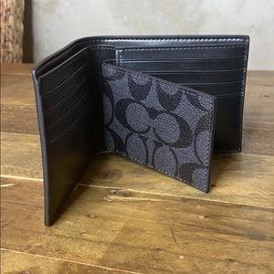 Coach signature compact ID men's wallet